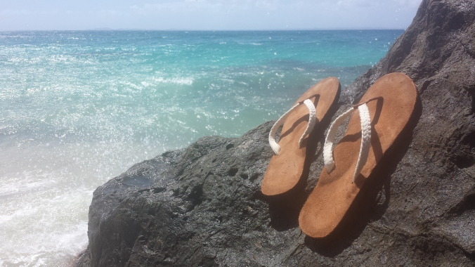 Foot Levelers' Seabreeze custom orthotic flip-flop, taking in some rays